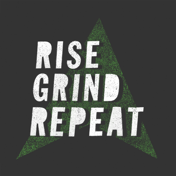 Rise Grind Repeat - type tee design by lunchboxbrain